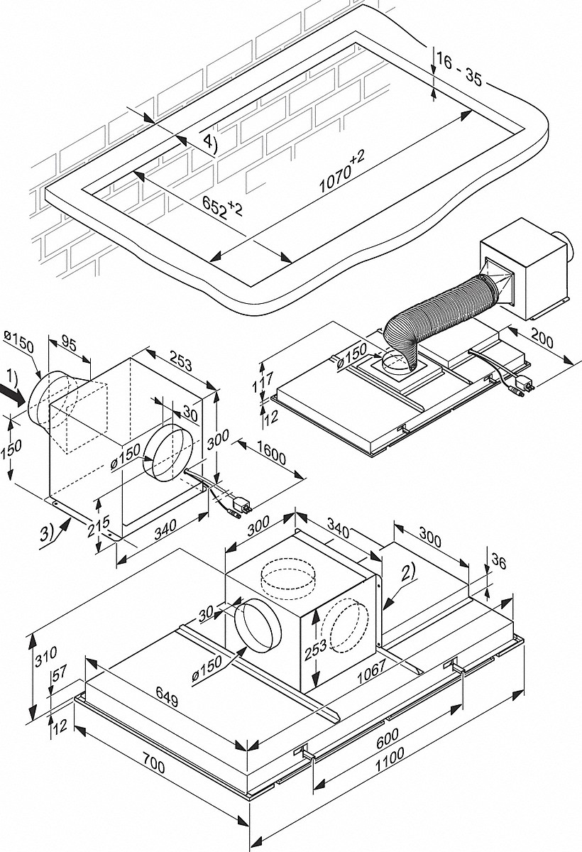 Miele Cooker Hoods Da 2906 Ceiling Extractor Honda Element Wiring Harness Installation Drawings